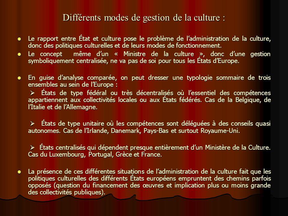 Différents modes de gestion de la culture :
