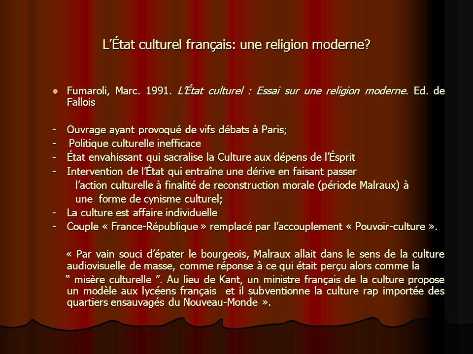 L'État culturel français: une religion moderne
