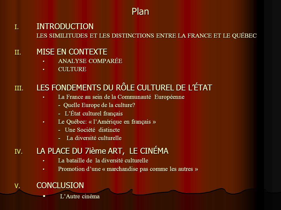Plan INTRODUCTION. LES SIMILITUDES ET LES DISTINCTIONS ENTRE LA FRANCE ET LE QUÉBEC. MISE EN CONTEXTE