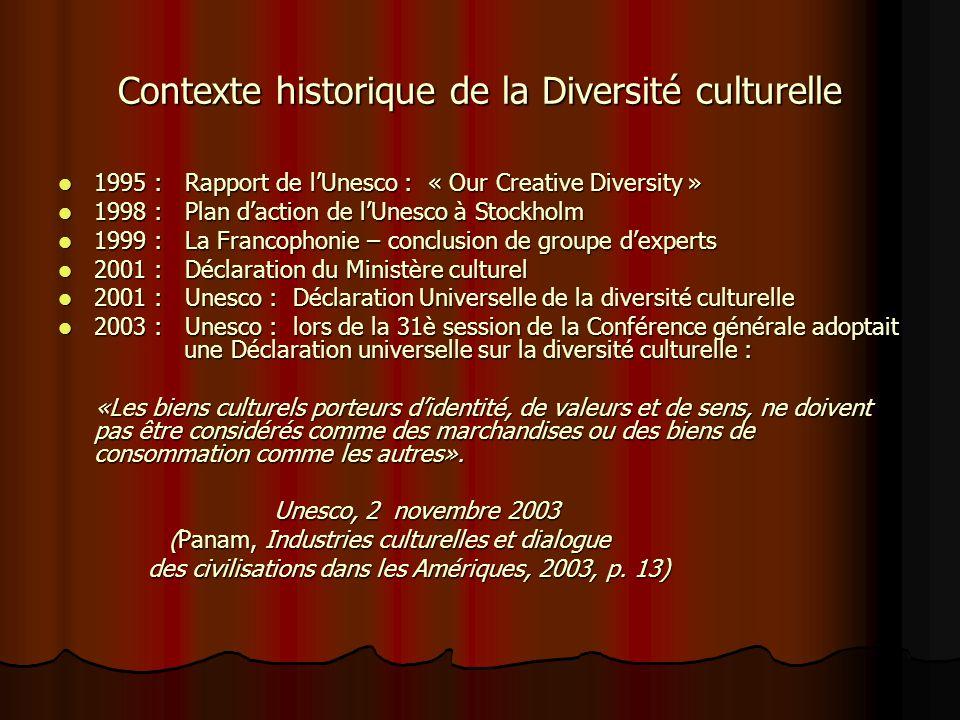 Contexte historique de la Diversité culturelle