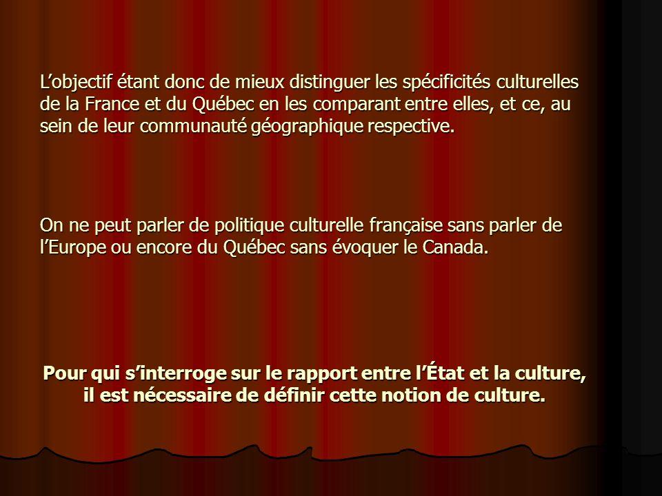 L'objectif étant donc de mieux distinguer les spécificités culturelles de la France et du Québec en les comparant entre elles, et ce, au sein de leur communauté géographique respective.