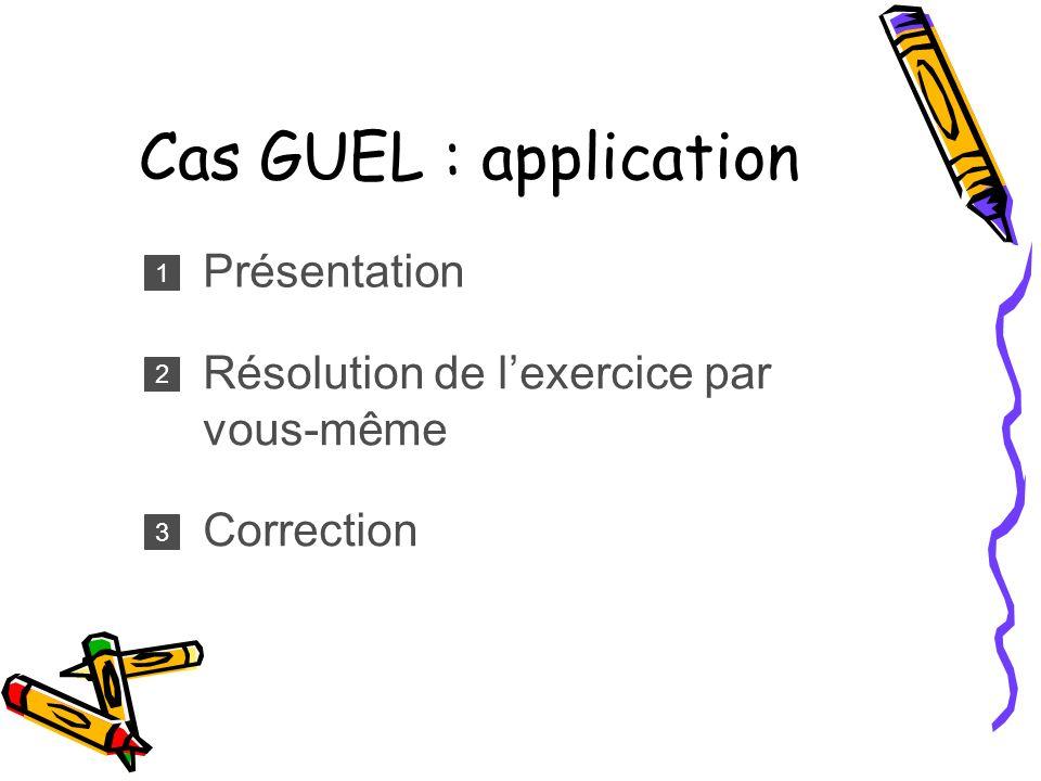 Cas GUEL : application Présentation