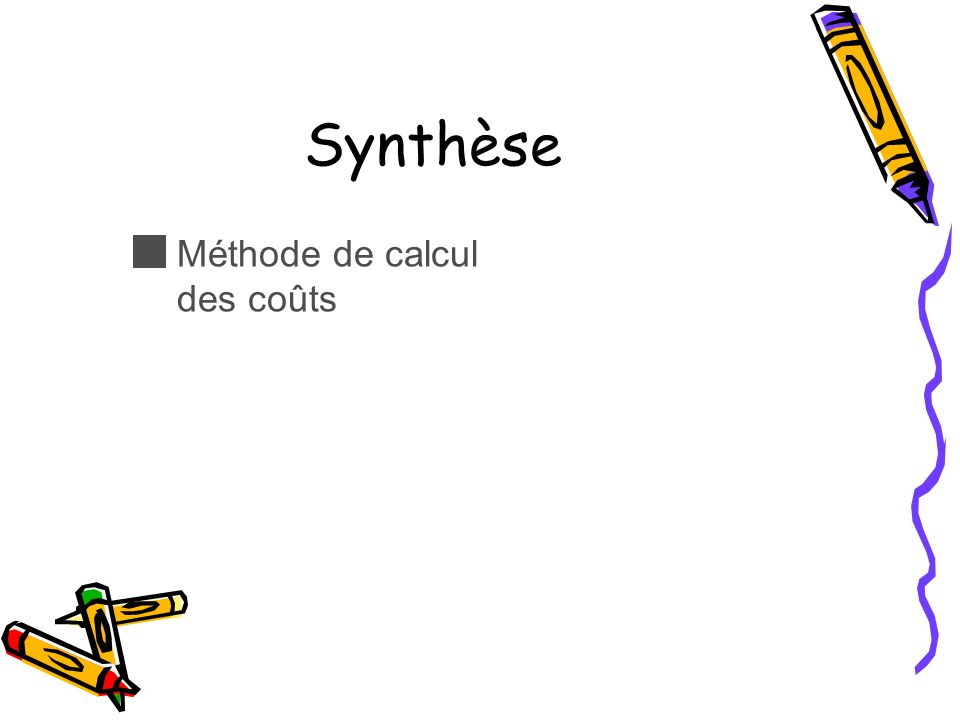 Synthèse Méthode de calcul des coûts