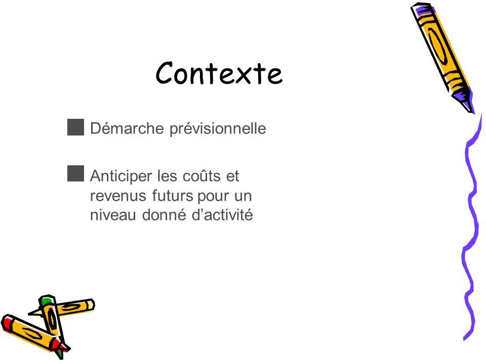 Contexte Démarche prévisionnelle