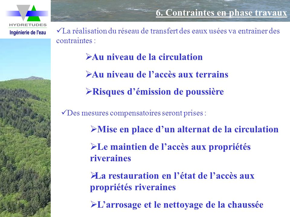 6. Contraintes en phase travaux