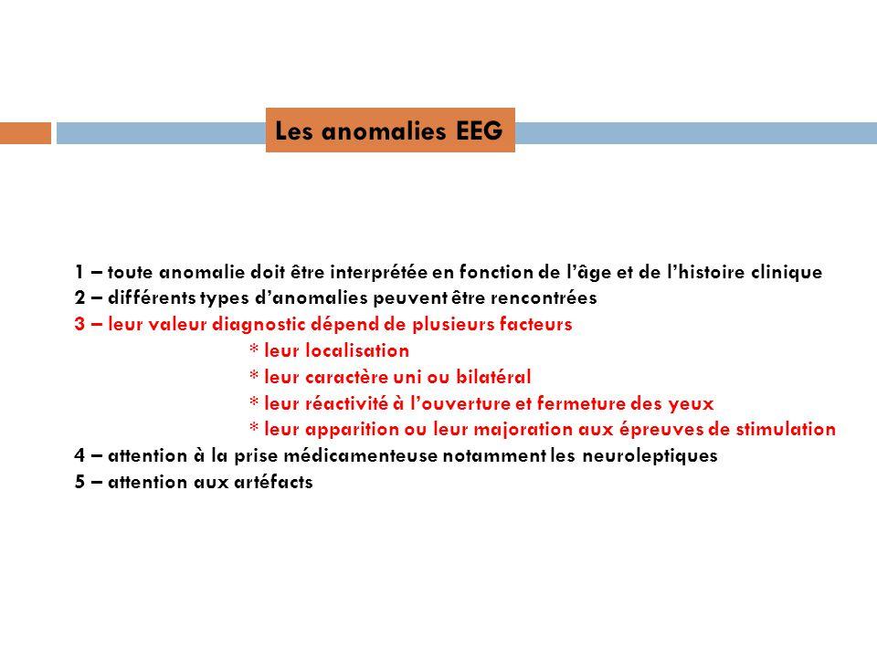 Les anomalies EEG 1 – toute anomalie doit être interprétée en fonction de l'âge et de l'histoire clinique.