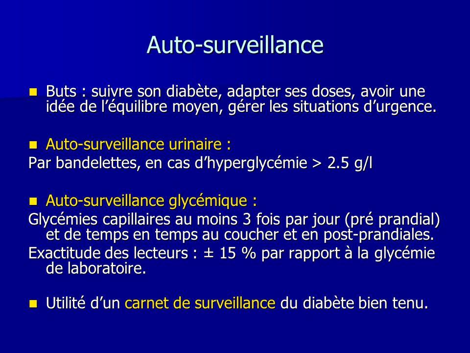 Auto-surveillance Buts : suivre son diabète, adapter ses doses, avoir une idée de l'équilibre moyen, gérer les situations d'urgence.
