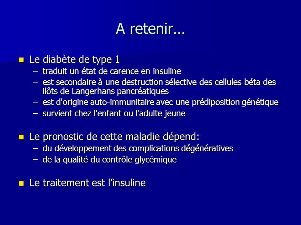 A retenir… Le diabète de type 1 Le pronostic de cette maladie dépend: