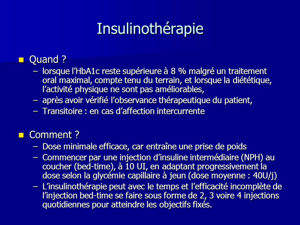 Insulinothérapie Quand Comment