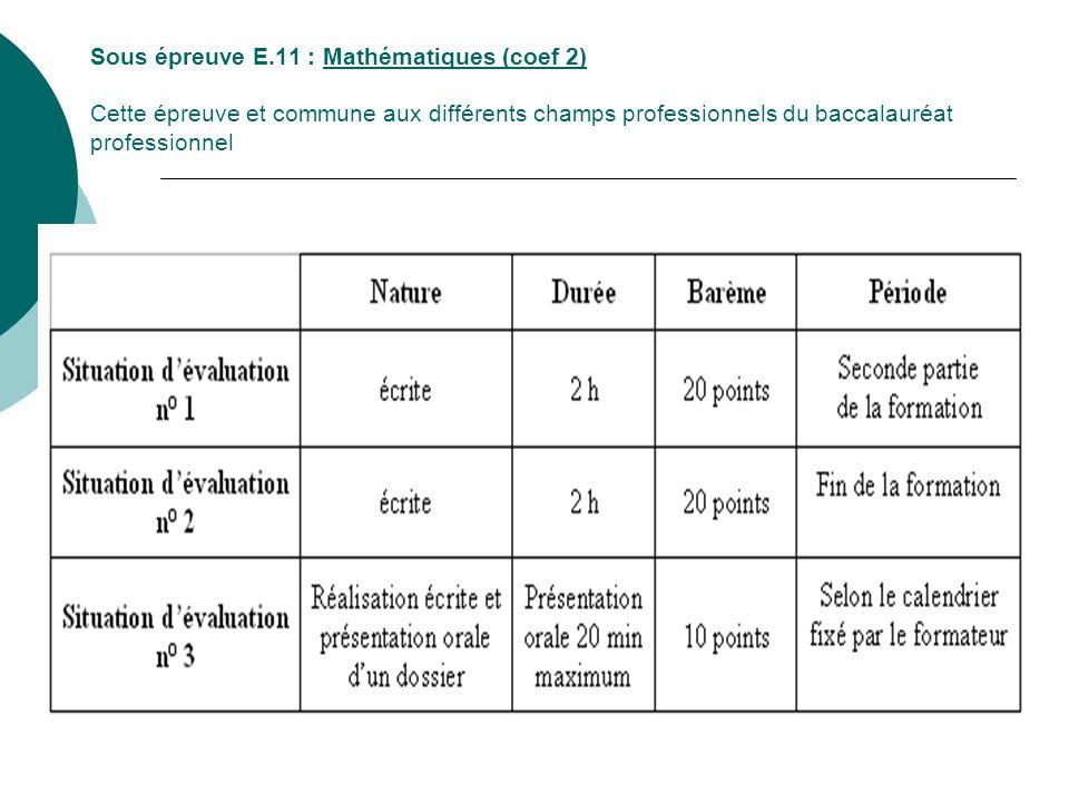 Sous épreuve E.11 : Mathématiques (coef 2) Cette épreuve et commune aux différents champs professionnels du baccalauréat professionnel