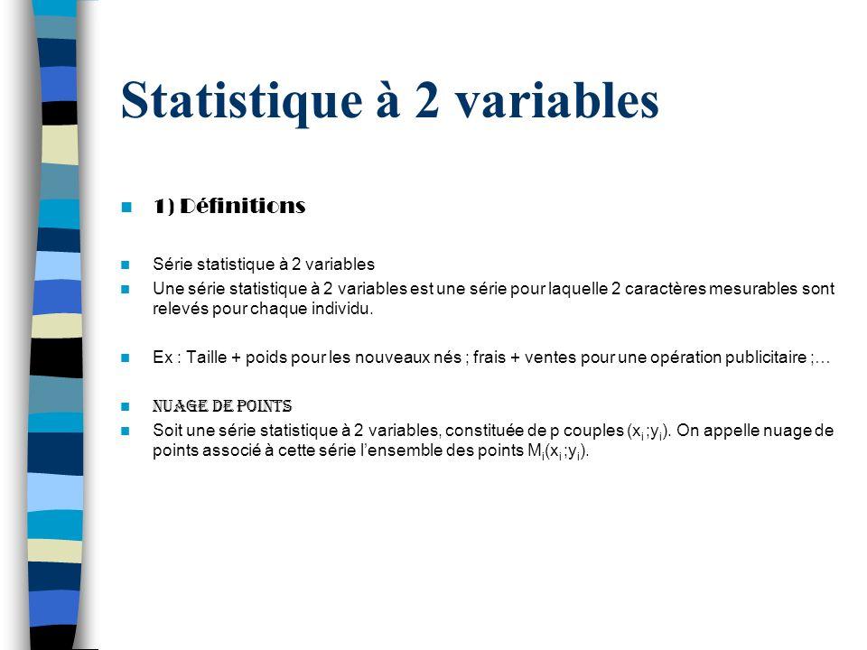 Statistique à 2 variables