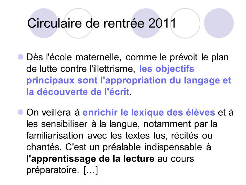 Circulaire de rentrée 2011