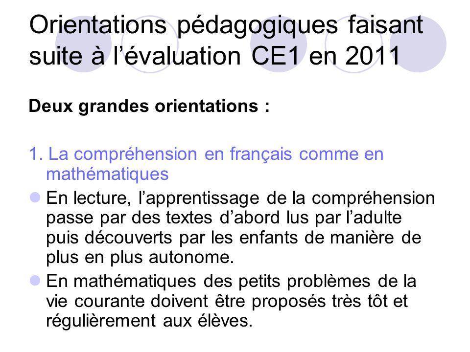 Orientations pédagogiques faisant suite à l'évaluation CE1 en 2011