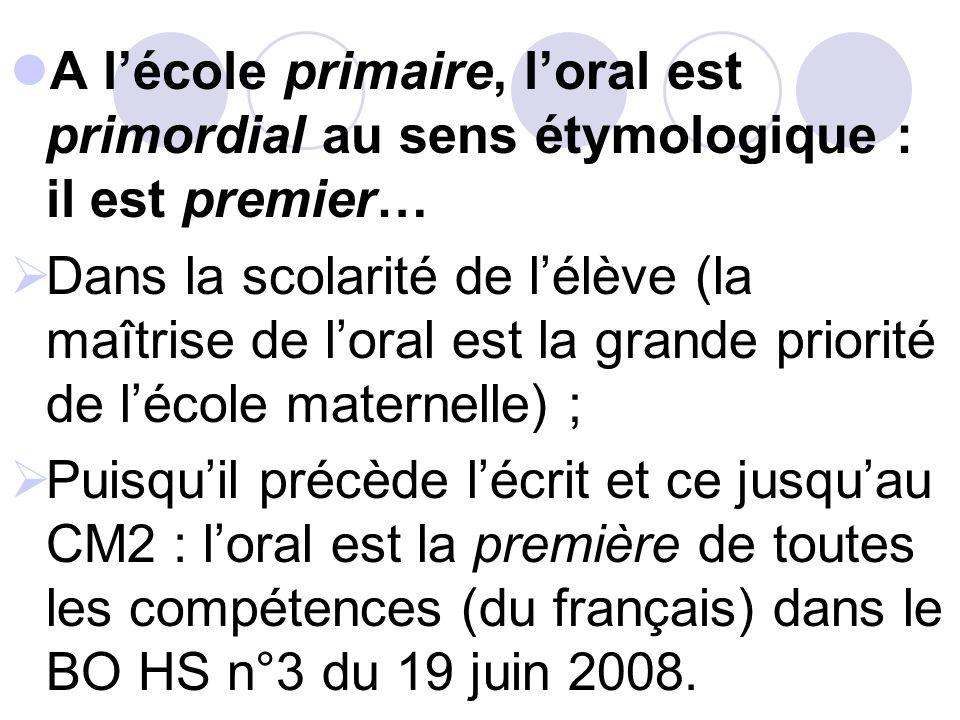 A l'école primaire, l'oral est primordial au sens étymologique : il est premier…