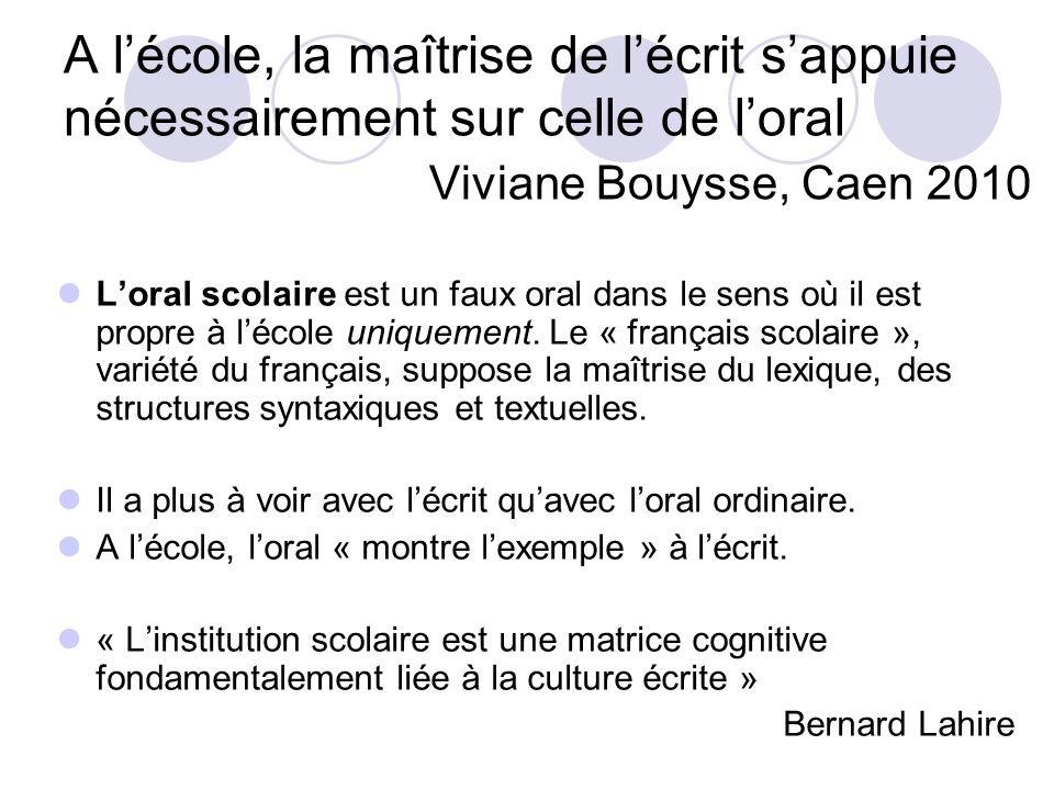 A l'école, la maîtrise de l'écrit s'appuie nécessairement sur celle de l'oral Viviane Bouysse, Caen 2010