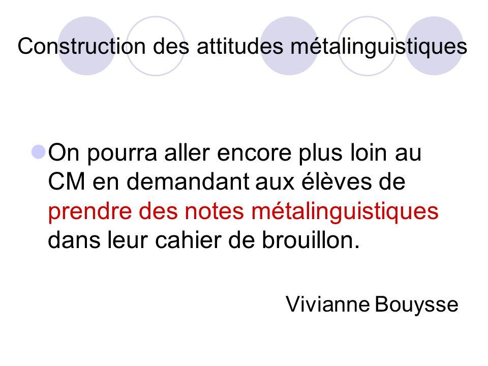Construction des attitudes métalinguistiques