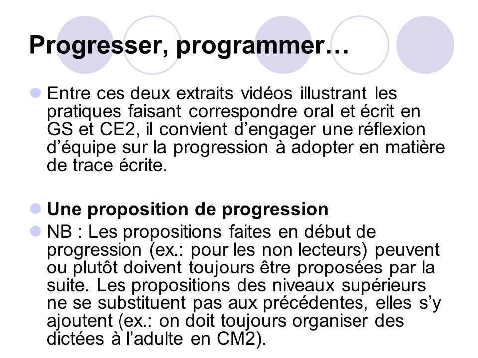Progresser, programmer…