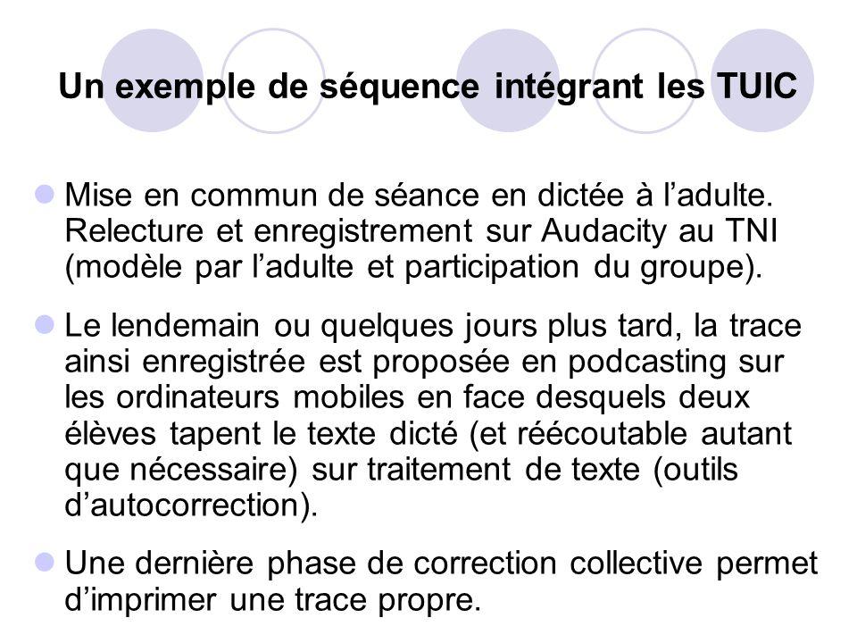 Un exemple de séquence intégrant les TUIC