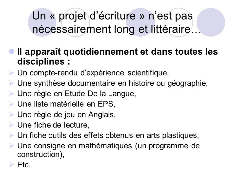 Un « projet d'écriture » n'est pas nécessairement long et littéraire…