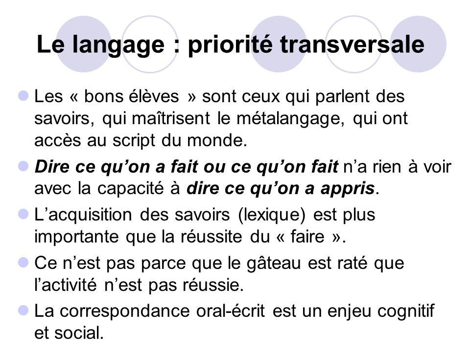 Le langage : priorité transversale