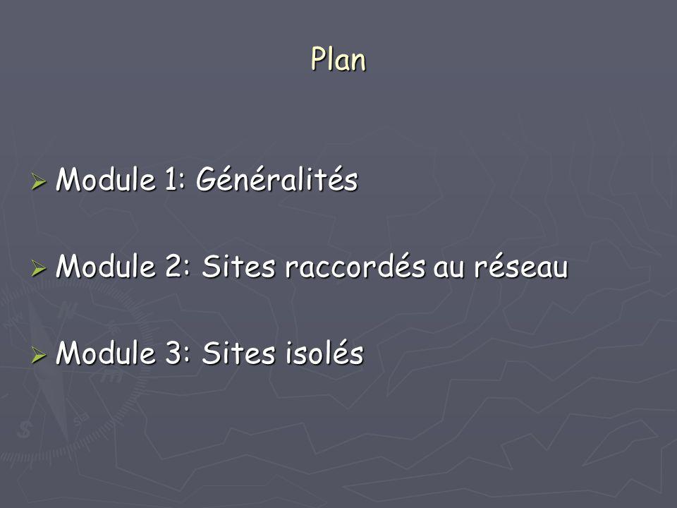 Plan Module 1: Généralités Module 2: Sites raccordés au réseau Module 3: Sites isolés
