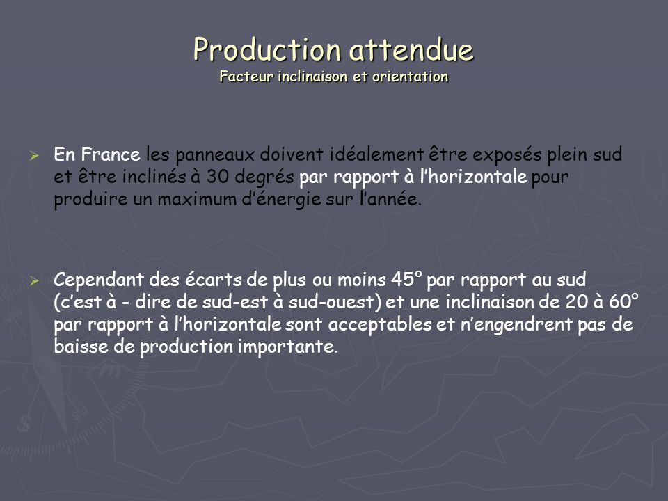 Production attendue Facteur inclinaison et orientation