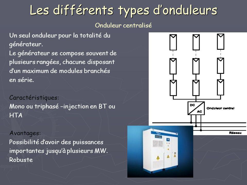 Les différents types d'onduleurs Onduleur centralisé