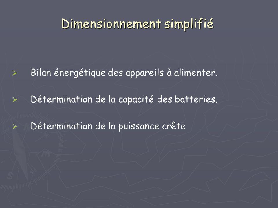 Dimensionnement simplifié