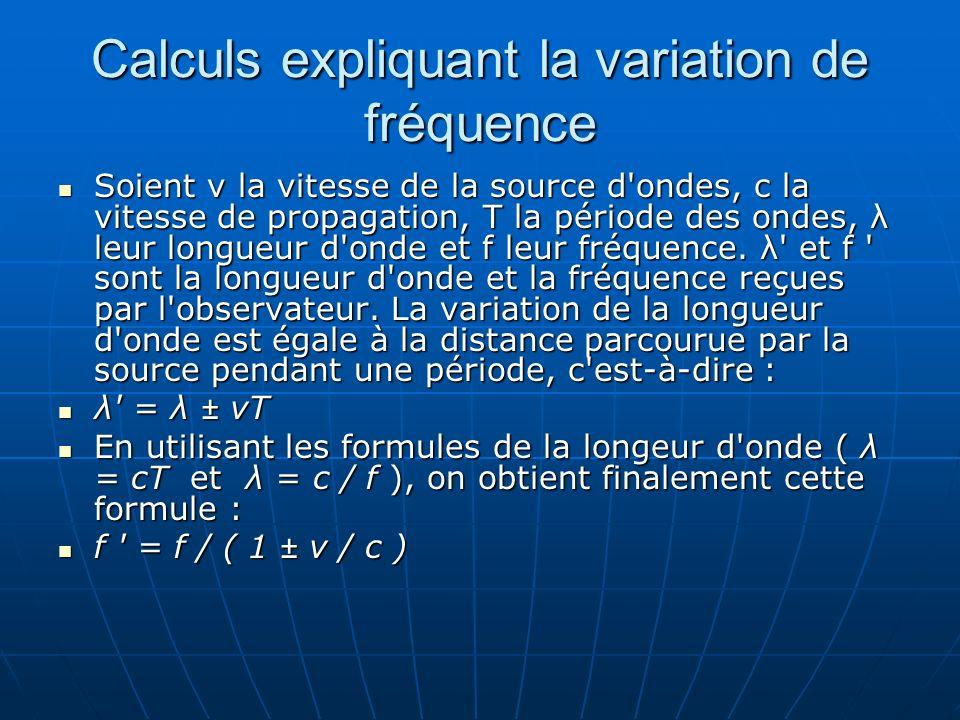 Calculs expliquant la variation de fréquence