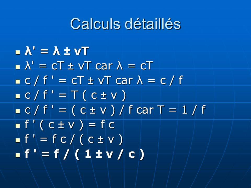 Calculs détaillés λ = λ ± vT λ = cT ± vT car λ = cT