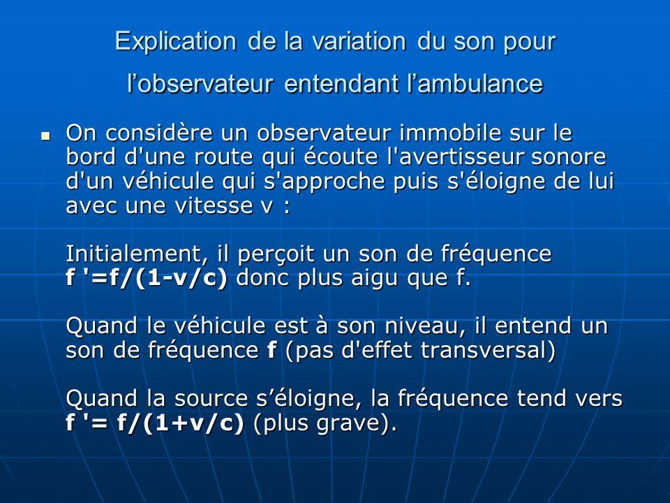 Explication de la variation du son pour l'observateur entendant l'ambulance