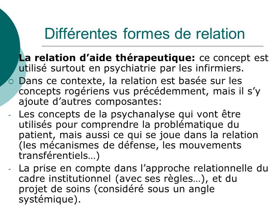 Différentes formes de relation