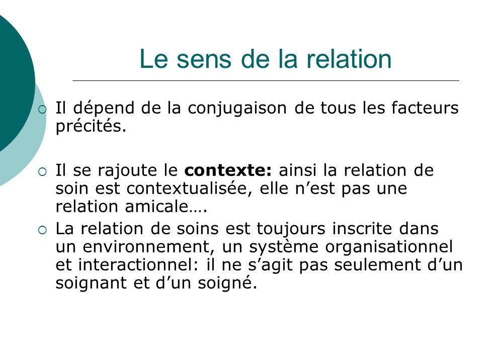 Le sens de la relationIl dépend de la conjugaison de tous les facteurs précités.