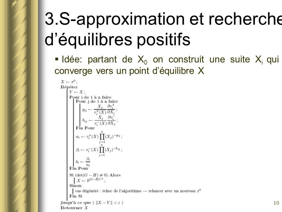 3.S-approximation et recherche d'équilibres positifs