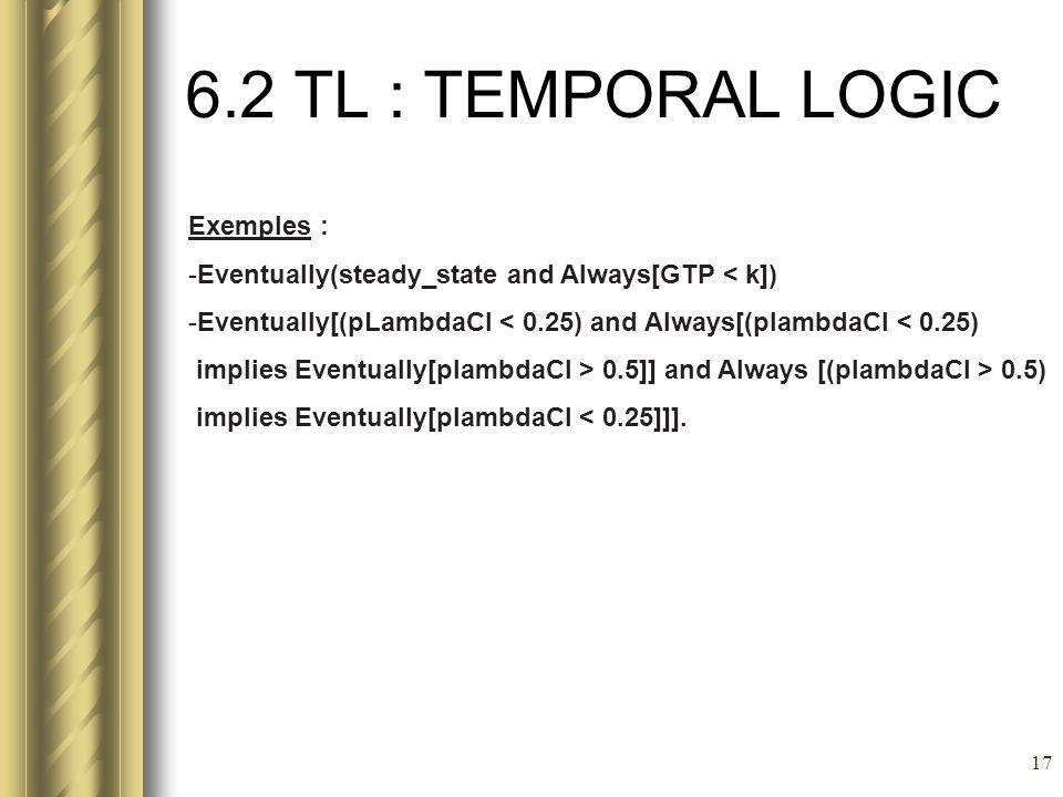 6.2 TL : TEMPORAL LOGIC Exemples :