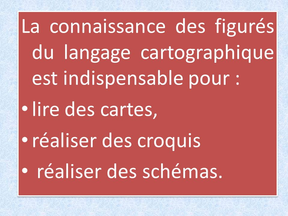 La connaissance des figurés du langage cartographique est indispensable pour :