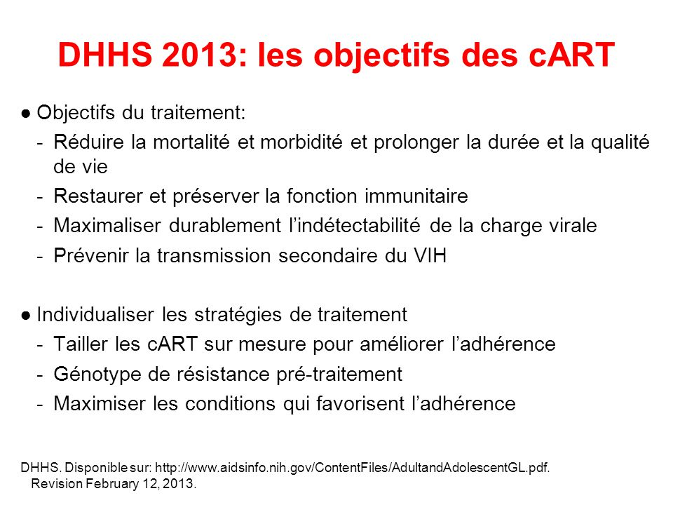 DHHS 2013: les objectifs des cART