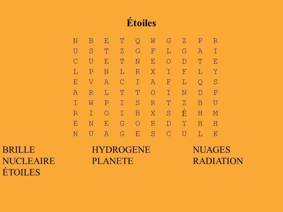 Étoiles BRILLE HYDROGENE NUAGES NUCLEAIRE PLANETE RADIATION ÉTOILES N