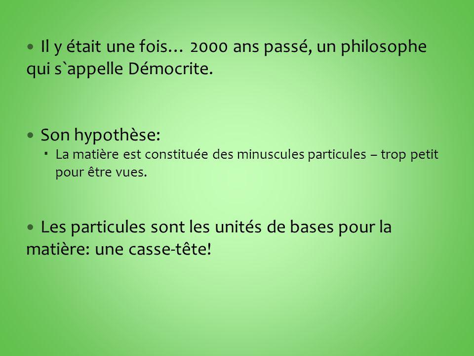 Il y était une fois… 2000 ans passé, un philosophe qui s`appelle Démocrite.