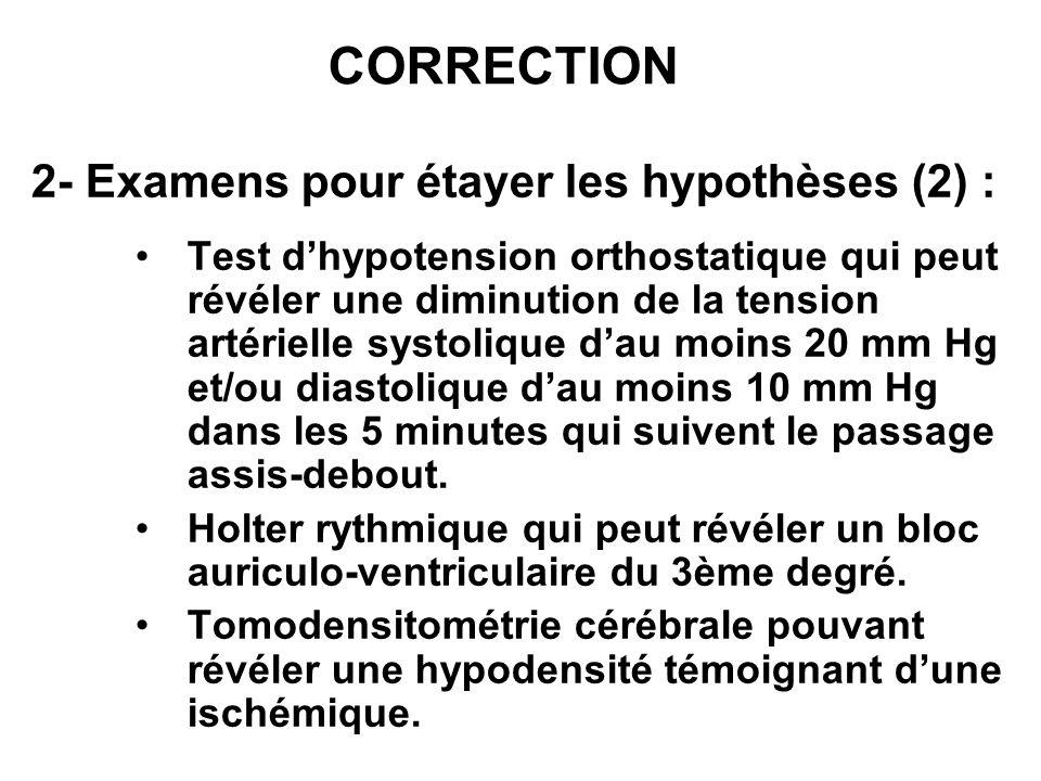 CORRECTION 2- Examens pour étayer les hypothèses (2) :