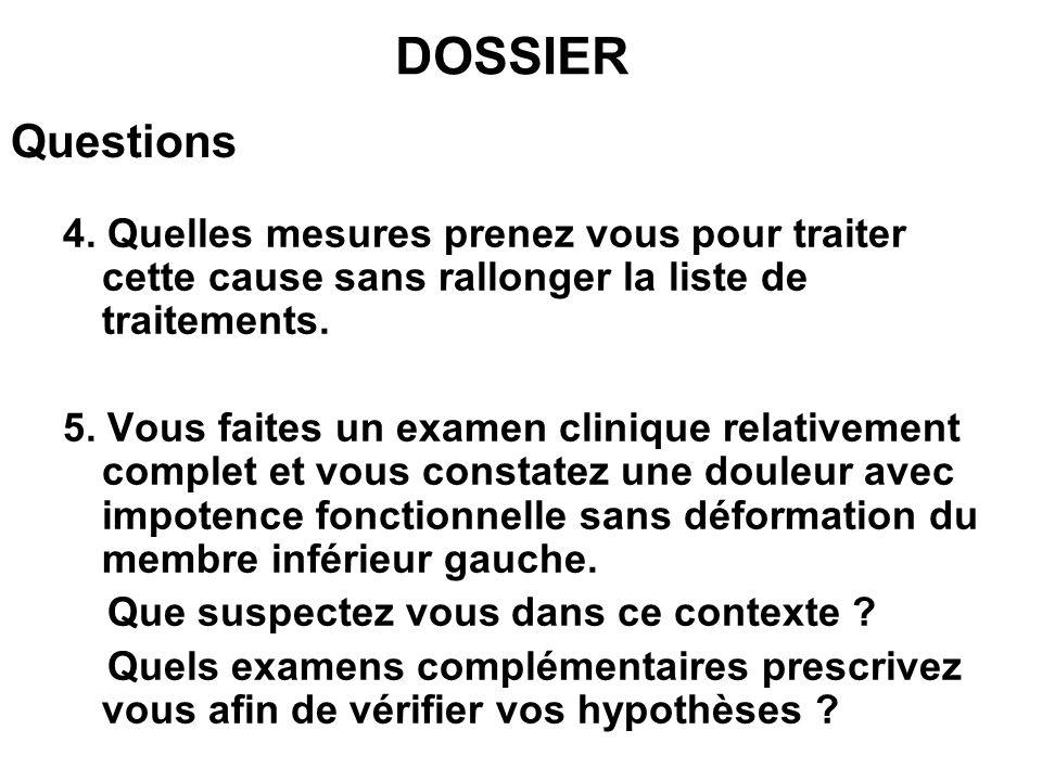 DOSSIER Questions. 4. Quelles mesures prenez vous pour traiter cette cause sans rallonger la liste de traitements.