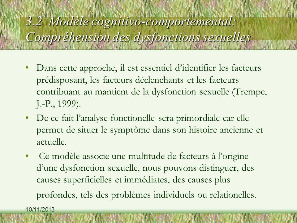 3.2 Modèle cognitivo-comportemental: Compréhension des dysfonctions sexuelles