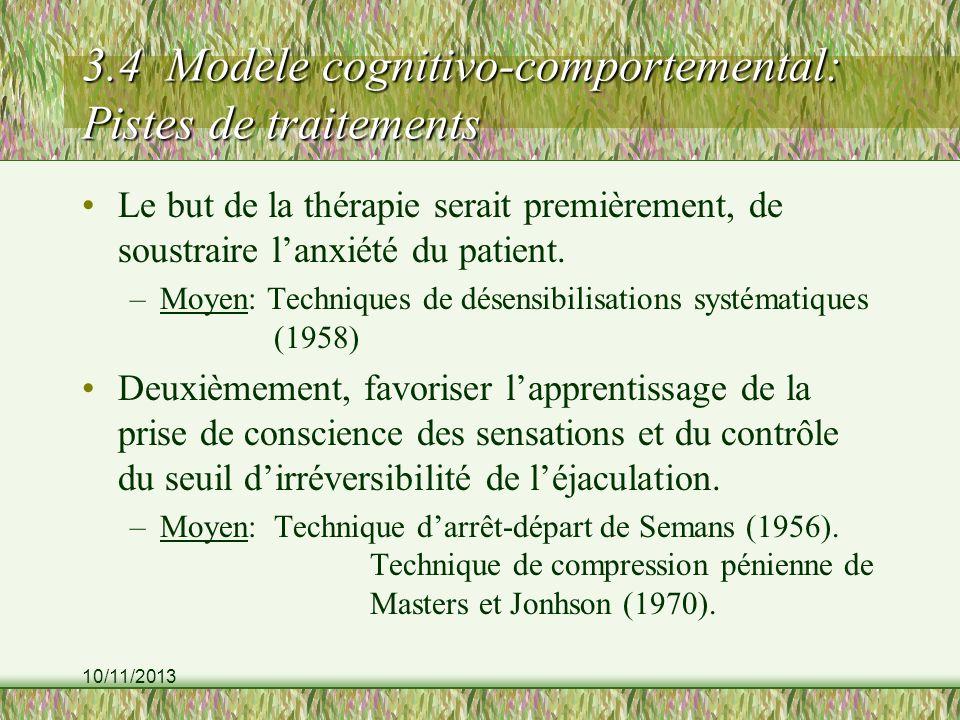 3.4 Modèle cognitivo-comportemental: Pistes de traitements
