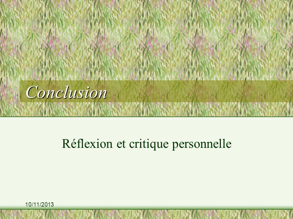 Réflexion et critique personnelle