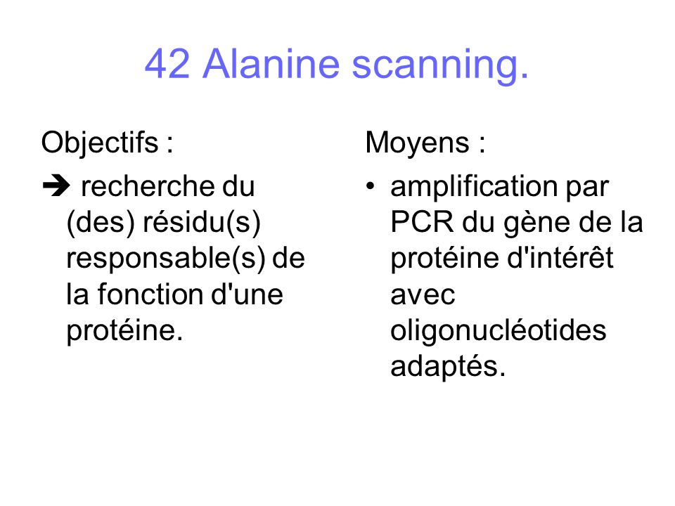 42 Alanine scanning. Objectifs :