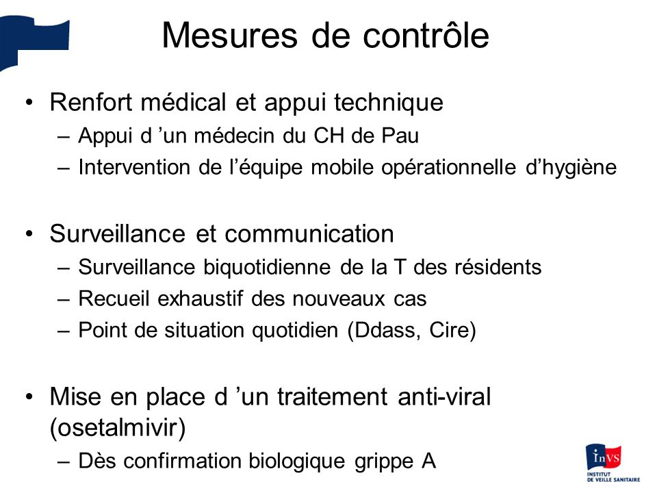 Mesures de contrôle Renfort médical et appui technique