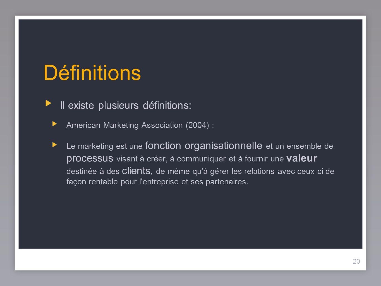Définitions Il existe plusieurs définitions:
