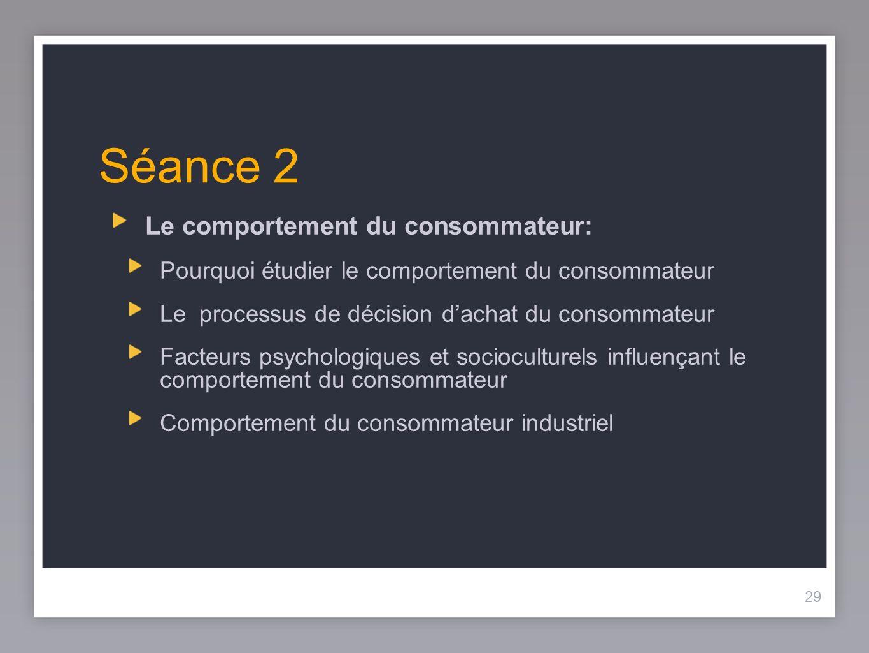 Séance 2 Le comportement du consommateur: