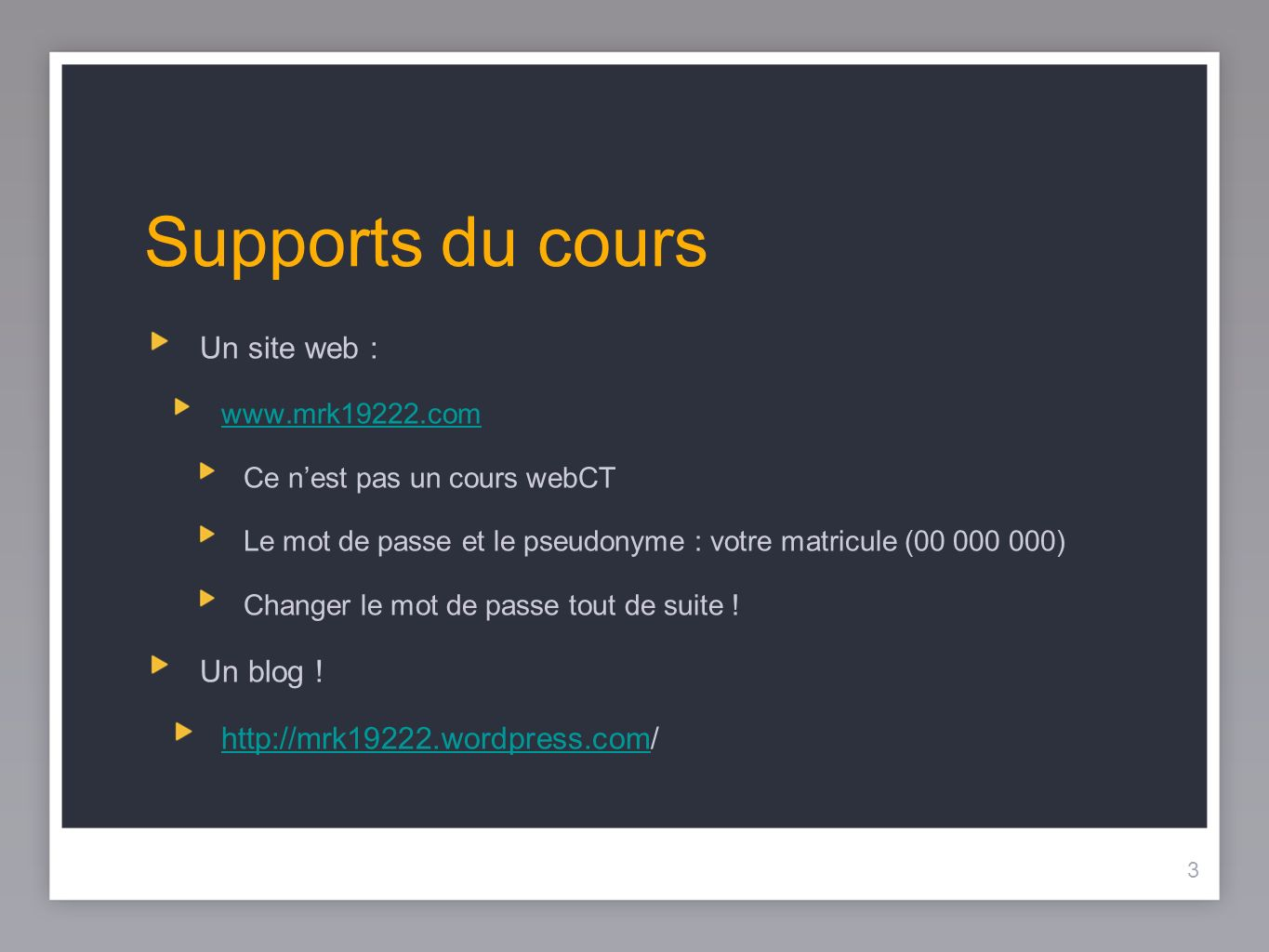 Supports du cours Un site web : Un blog !