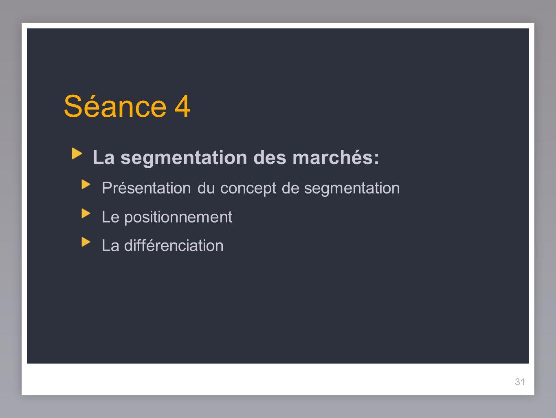 Séance 4 La segmentation des marchés: